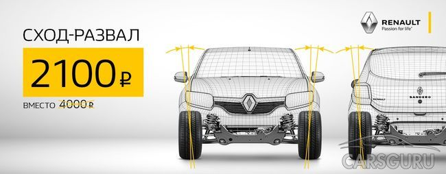 Сход-развал Renault за 2100 рублей!