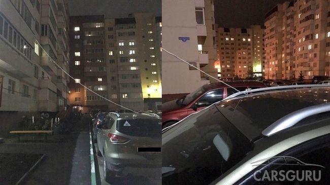 В Брянске автовладелец привязал к балкону свое авто