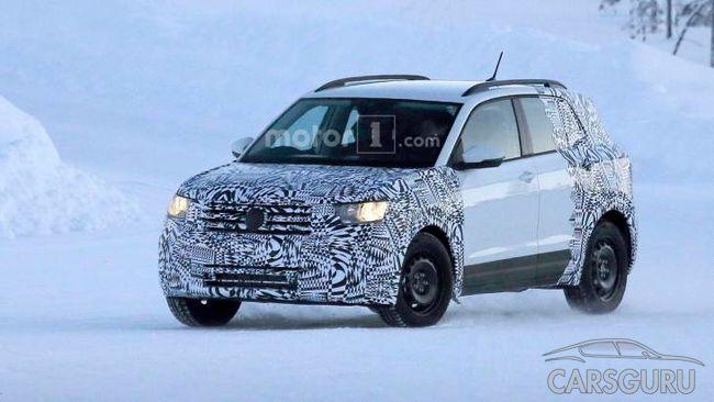 Первые снимки нового VW T-Cross на зимних испытаниях